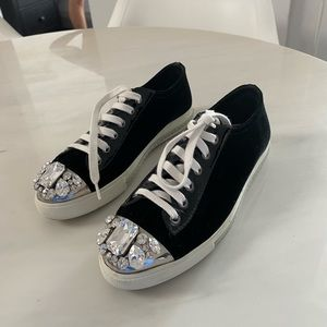 Miu Miu black velvet embellished sneakers size 38